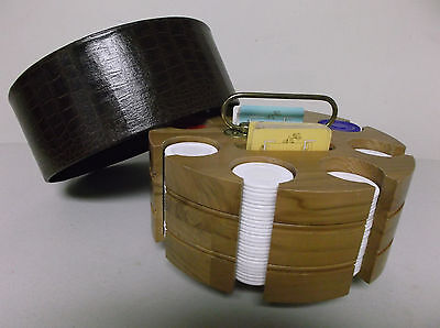 Vintage Wooden Poker Chips/cards Revolving Caddy/carousel*faux Croc Cover*extras