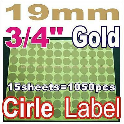 """GOLD Label Sticker Circle Round Color 19mm 1.9cm 3/4"""" inch mark marking packing"""