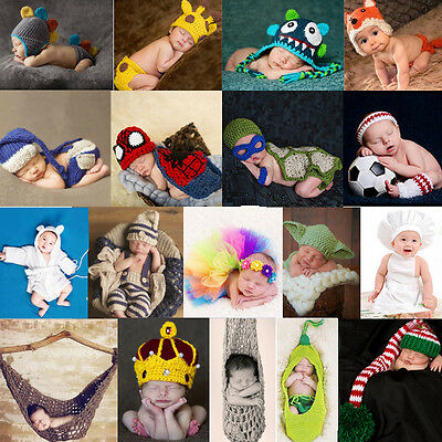 Newborn Baby Girls Boys Crochet Knit Costume Photo Photography Prop Outfits #14