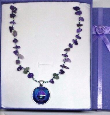 Amethyst Tree of LIfe Necklace contains blessed by John of God Casa Crystal gems