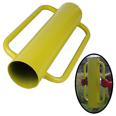 Yellow Post Driver Heavy Duty Rammer Hammer Thumper Strong Steel Two Handles New
