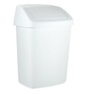 Papelera Rubbermaid Curver. Color blanco. Tapa basculante. Capacidad 10 Lt