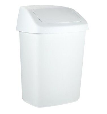 Papelera Curver Rubbermaid. Color blanco, Tapa basculante, Capacidad 25 Lt