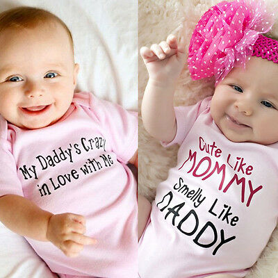 Cotton Newborn Baby Girls Pink Bodysuit Romper Jumpsuit Outfits Clothes 0-24M