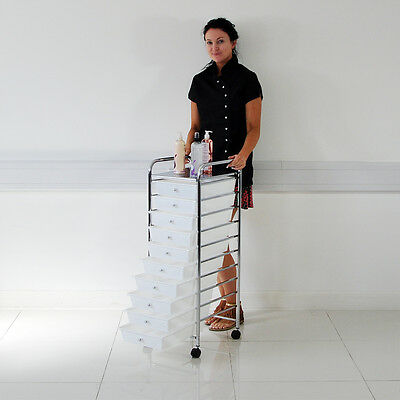 Large Salon Barber Beauty White Storage Trolley With 10 Draws