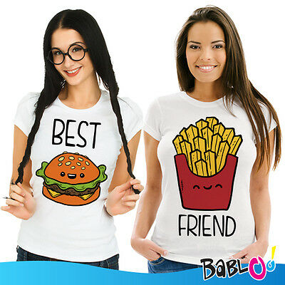 "Coppia Di T Shirt Magliette You And Me Best Friend ""Fast Food"""