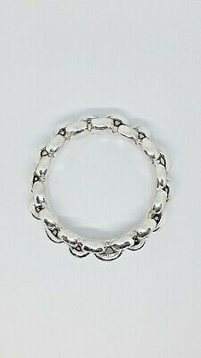 HEAVY 925 Sterling Silver Fancy Solid Thick 3d Rolo Bracelet Bangle Over 41 Gram
