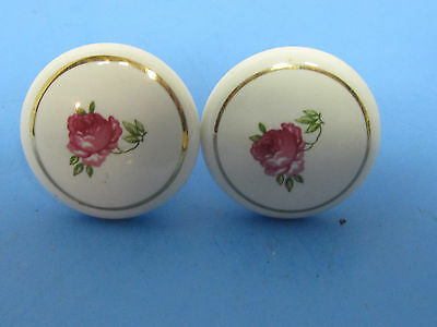 Vintage Drawer Pull Knibs Porcelain Rose