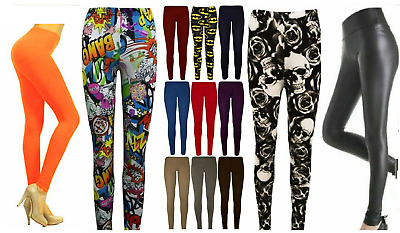 NEW WOMEN LADIES FULL LENGTH Printed LEGGINGS JEGGINGS STRETCHY PANT SKINNY Size