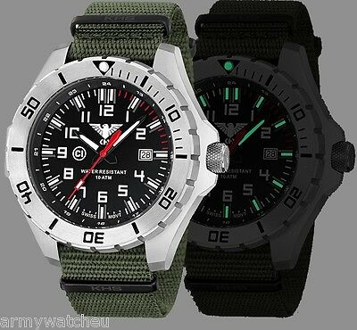 KHS Tactical Watches C1-Light German Military Watch Green Army Strap KHS.LANS.NO