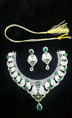 New Indian Bollywood American Diamond Necklace And Earrings Set Party Wedding
