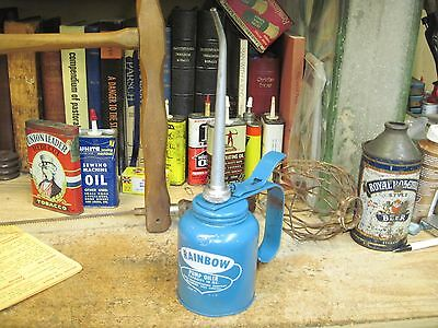 rainbow pump oiler eagle mfg co blue oil can farm machine original mid 1900's