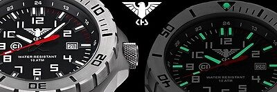 Police Watch Military Army Mens Watch 56mm Rubber Camouflage Oliv KHS.LANS.DC1