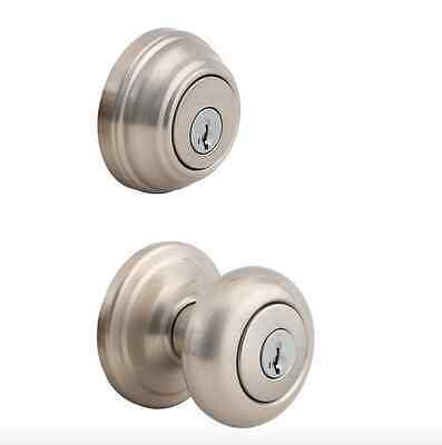 Kwikset Entry Exterior Door Single Cylinder Deadbolt Knob Lock Combo Smart Key