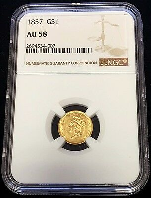 1857 Gold United States Princess Head $ 1 Dollar Coin -Type 3- Ngc About Unc 58