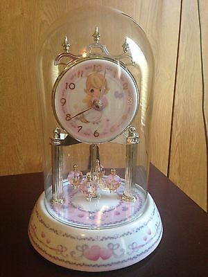 2002 Precious Moments Clock with Glass Dome and Spining Pieces