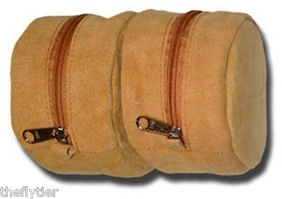 Suede Leather Double Reel Case Fly Fishing New with Heavy Duty Zipper