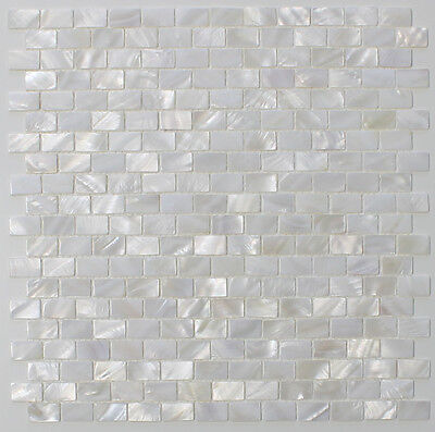 Mother of Pearl Oyster White Subway Mosaic Tiles - Kitchen Backsplash
