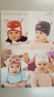 Sirdar Knitting Pattern #1474 Baby or Child's Hats to Knit in Snuggly DK