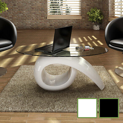 #bNEW Glass Top Coffee Table High Gloss White/Black High-quality ExclusiveDesign
