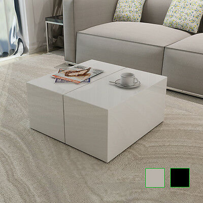 New Coffee Table High Gloss White/Black Square Modern Contemporary Living Room