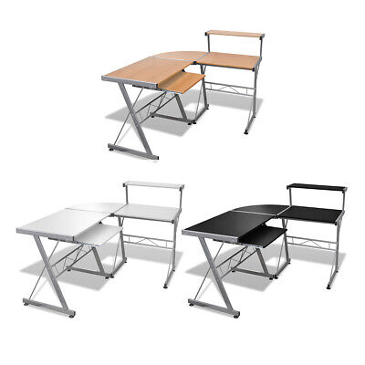 #bNEW Computer Desk Workstation With Pull Out Tray Black/Brown/White Selectable