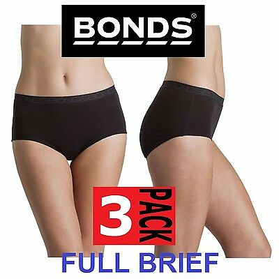 3 x BONDS WOMENS COTTONTAILS FULL BRIEF UNDERWEAR BLACK PLUS SIZE 10-18