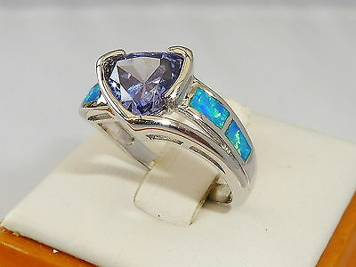 Ladies Fine 925 Solid Silver Trillion Cut Tanzanite Solitaire and Opal Ring