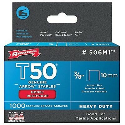 Arrow Fastener 506M1 Genuine T50 Monel Rustproof 3/8-Inch Staples 1000-Pack