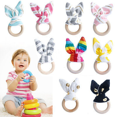 Safety Wooden Natural Baby Teething Ring Chewie Cute Teether Bunny Sensory Toy~