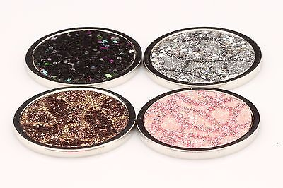 32mm Crystal Sparkly COIN/DISC for Holder / Coin Locket Necklace Moneda 4 Colour