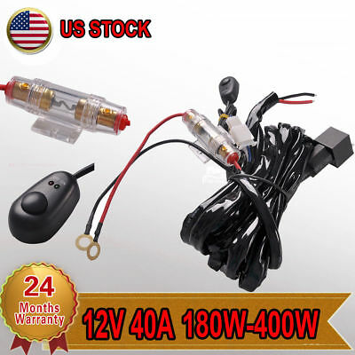 Up to 400W 40A 12V Wiring Harness Kit Switch Relay for LED Light Bar Lamps