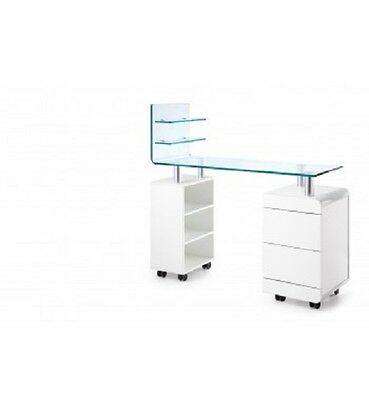 Glass Double Cabinet Manicure Nail Table with Built in Nail Polish Display Stand