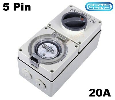 GEN3 20 AMP 3 Phase 5 Pin Round Switched Socket Combination
