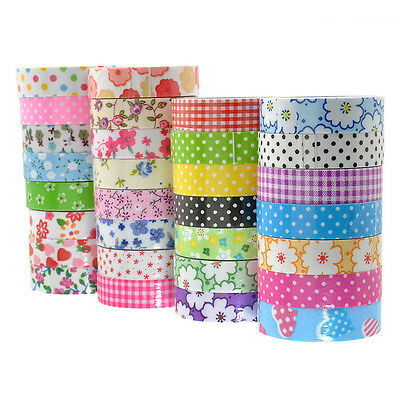 Fashion Printing Fabric Washi Tape Decorative DIY Tape Sticker Grid Stars Stripe