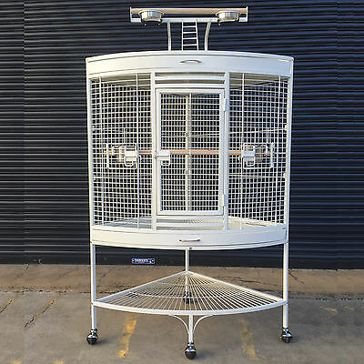 White Corner Parrot Aviary Bird Cage Perch Roof Gym Budgie On Wheels 157cm A13