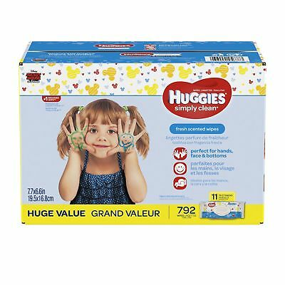 HUGGIES Simply Clean Baby Wipes Unscented Soft Pack 792 Count Rigid Pack