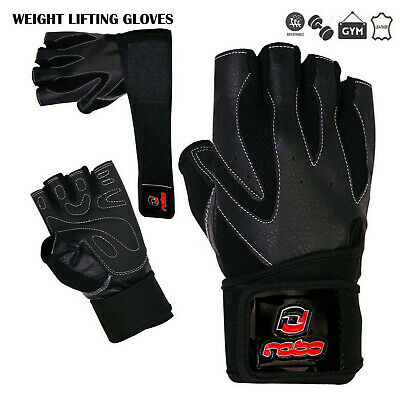 Weight Lifting Leather Gloves Gym Fitness Body Building Long Closure Strap Black