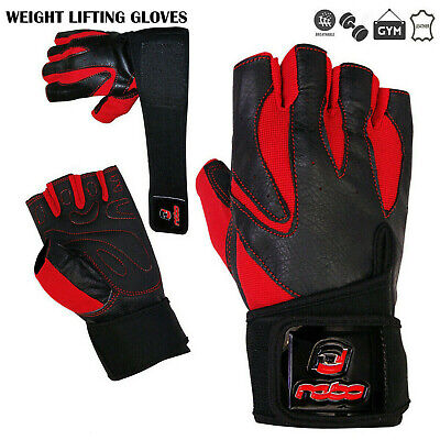 Weight Lifting Leather Gloves Gym Fitness Body Building Long Closure Strap - Red