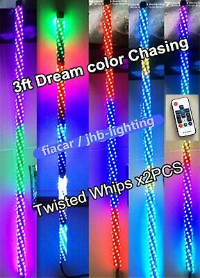 Pair 3FT 300LEDs  Spiral wrapped Dream CHASING TWISTED LED Whips Lights (Remote)