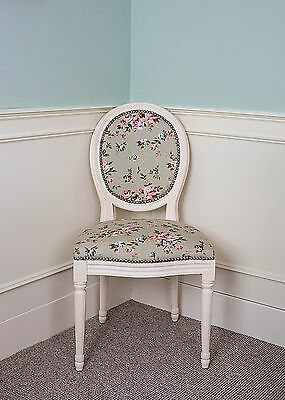 French Louis Side Chair White Green Floral Antique Dressing  Bedroom Dining