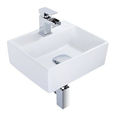 Modern Square Ceramic Small Compact Cloakroom Basin Wall Hung Bathroom Sink