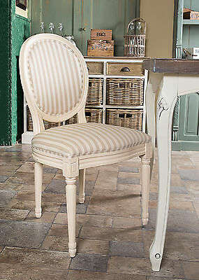 French Louis Side Chair White Stripe Antique Farmhouse Style Bedroom Dining