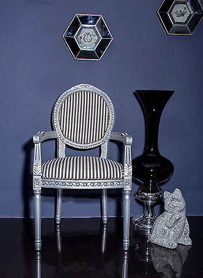 French Louis Armchair Silver Black Stripe Shabby Chic Antique Bedroom Hall Round