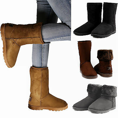 Womens Fur Boots Buttons Mid Calf Tall Snow Shoes Faux Suede Fashion Winter Warm