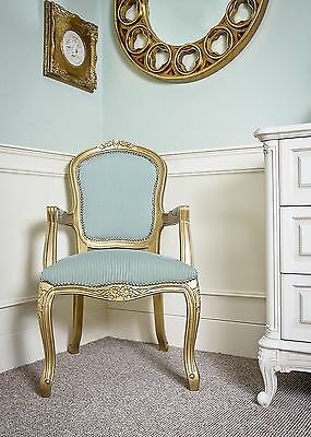 French Louis Armchair Gold Green Shabby Chic Antique Style Bedroom Hall Carver