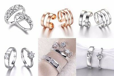 18K White Gold Filled Rings Adjust Band GF CZ Men/Women Couple Wedding Jewelry