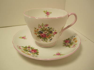 Shelley English China Tea Cup & Saucer White Pink Florals Exc Condition