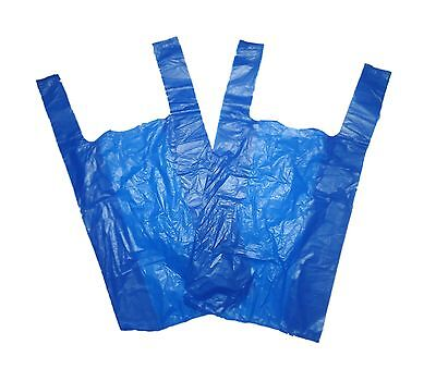 "100 x Plastic Carrier Bags Blue 11x17x21"" 16Mu For Supermarkets Stalls Stores"
