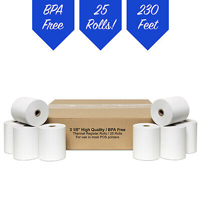 "3 1/8"" x 230' White Thermal PoS Receipt Paper 25 Rolls **FREE SHIPPING**"
